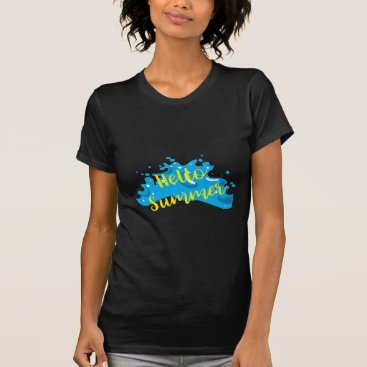 Beach Themed Hello Summer, Waves Graphic, Cool White T-Shirt