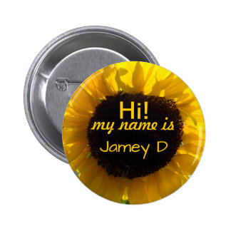 Hello Sunflower Sunshine Nametag Pinback Button
