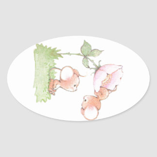 Hello Sunshine Mice with Flower Oval Sticker