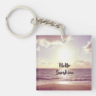 """Hello Sunshine"" Photo Quote Single-Sided Square Acrylic Keychain"