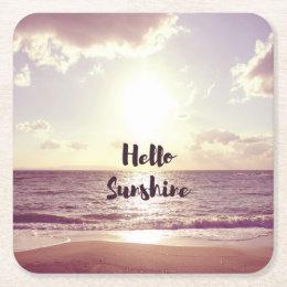 """""""Hello Sunshine"""" Photo Quote Square Paper Coaster"""