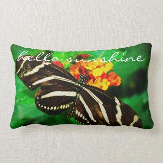 """Hello Sunshine"" Quote Black White Butterfly Photo Lumbar Pillow"