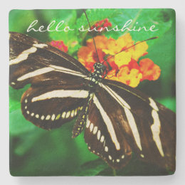 """Hello Sunshine"" Quote Black White Butterfly Photo Stone Coaster"