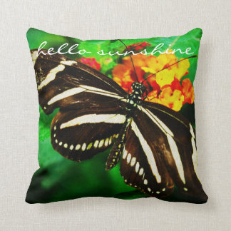 """""""Hello Sunshine"""" Quote Black White Butterfly Photo Throw Pillow"""