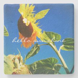 """""""Hello Sunshine"""" Quote Huge Yellow Sunflower Photo Stone Coaster"""