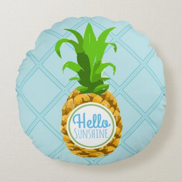Beach Themed Hello Sunshine Summer Pineapple Round Pillow