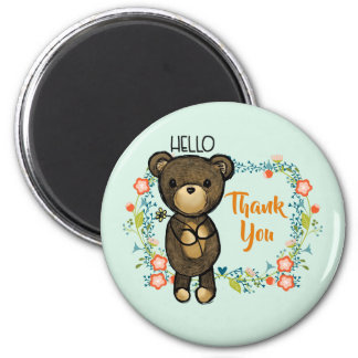 Hello Teddy Bear with Flowers Thank You Magnet