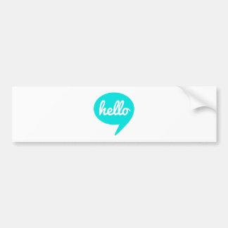 hello text design in teal speech bubble bumper sticker