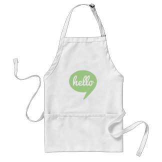 hello text design with green speech bubble adult apron