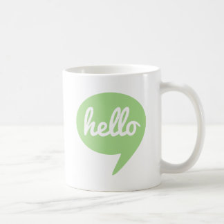 hello text design with green speech bubble coffee mug
