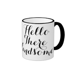 Hello There Handsome Typography Ringer Coffee Mug