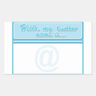 Hello... twitter name tag rectangular sticker