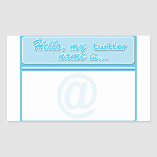 Hello... twitter name tag stickers