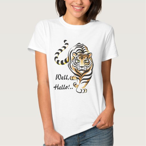 Hello Walking Tiger Fitted Woman's T-shirt