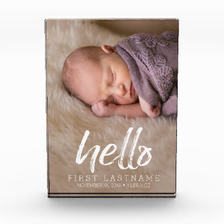 Hello Whimsical brushed lettering with Baby Photo