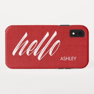 Hello White Script Name on Red Linen Texture Photo iPhone XR Case