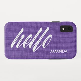 Hello White Script Name Purple Linen Texture Photo iPhone XR Case