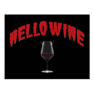 Hello Wine - A Halloween Treat Postcard