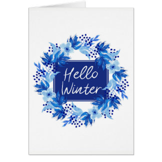 Hello Winter Blue Flower Greeting card