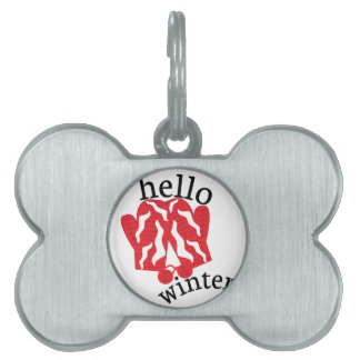 Hello Winter Pet ID Tag