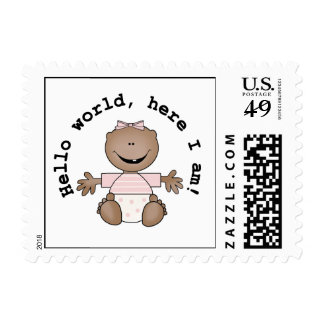 Hello World African American Girl Postage Stamps