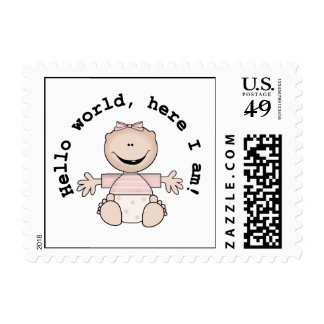 Hello World Baby Girl Postage Stamps