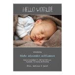 """Hello World Birth Announcement//Gray 5"""" X 7"""" Invitation Card"""