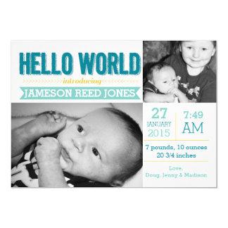 """Hello World Birth Announcement 5"""" X 7"""" Invitation Card"""