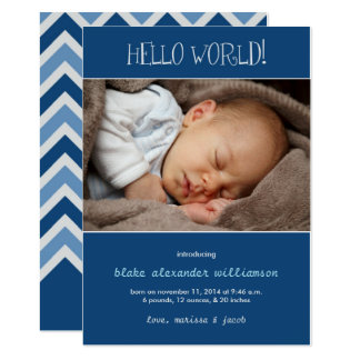 Hello World Birth Announcement//Monaco Blue Card