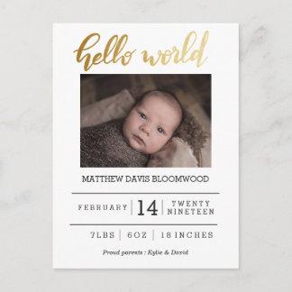 Hello World Birth Announcement Newborn Photo