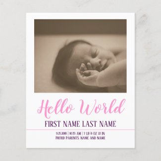 Hello World - Girl Birth Announcement with Photo