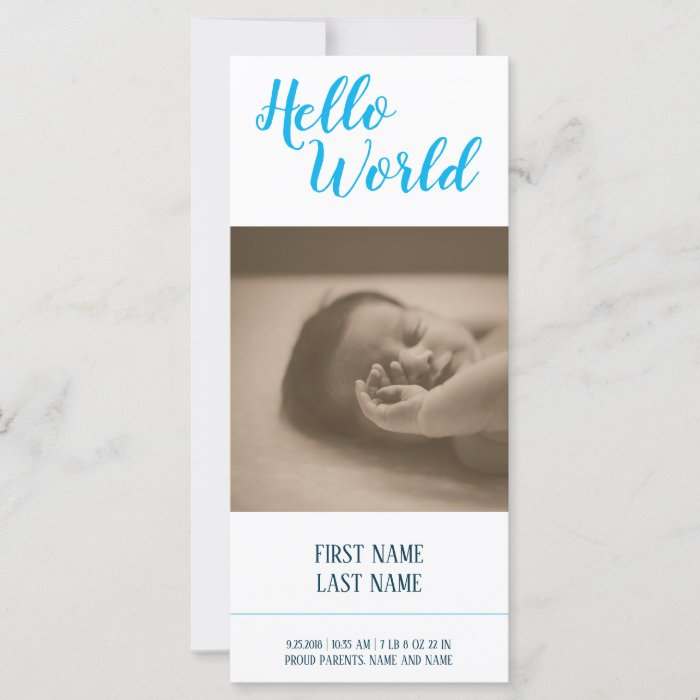 Hello World - birth announcement with photo