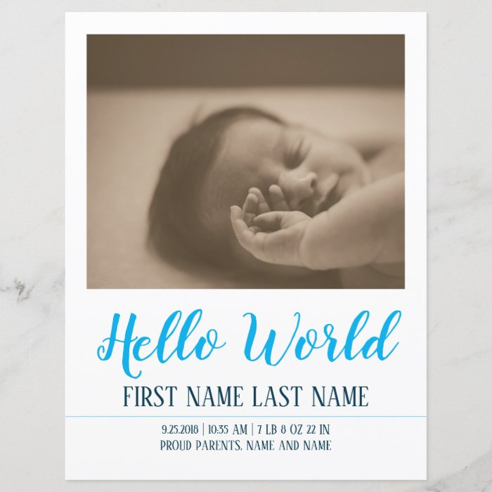 Hello World - birth announcement with photos