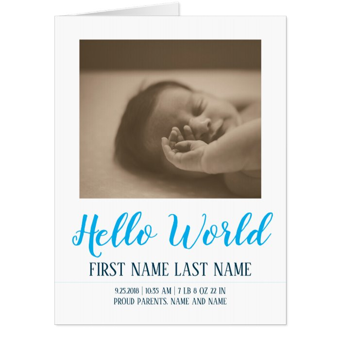 Hello World - birth announcement with photos Card