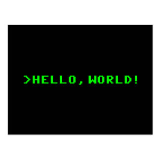 Hello World Computer Programming Postcard