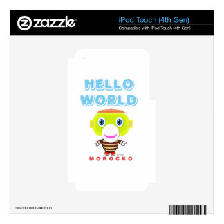 Hello World-Cute Monkey-Morocko iPod Touch 4G Decals