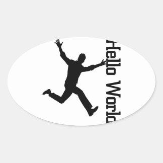 Hello World- Freedom Figure Oval Sticker