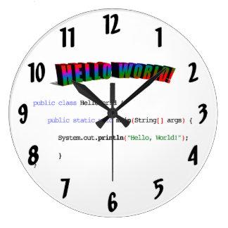 Hello World geek greeting Java Wall Clocks