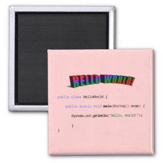 Hello World geek greeting Java Magnet