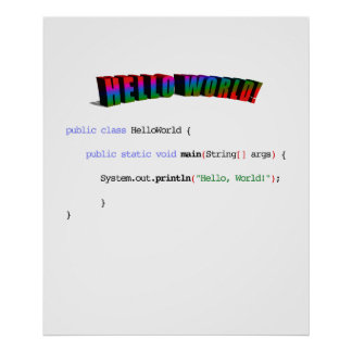 Hello World geek greeting Java Poster