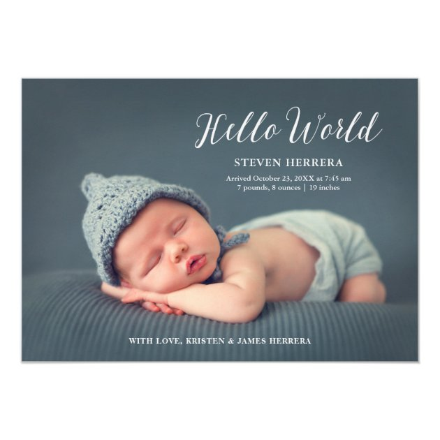 Hello World Overlay with Floral Decor Baby Birth Card (back side)