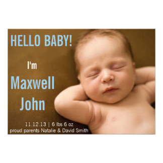 HELLO WORLD SIMPLE BABY ANNOUNCEMENT CARD