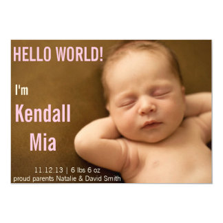 HELLO WORLD SIMPLE BABY ANNOUNCEMENT CARD PINK