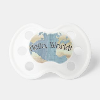 Hello World Vintage Map Pacifier