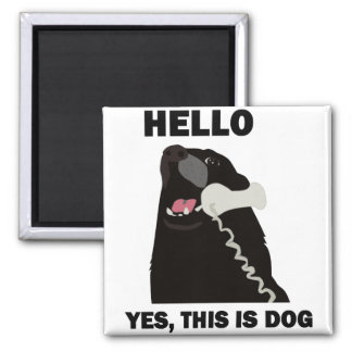 HELLO YES THIS IS DOG telephone phone 2 Inch Square Magnet