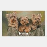 Hello Yorkshire Terrier Puppy Dog Greeting Sticker