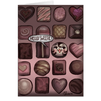 Hellow Sweetie! Cute Chocolates Valentine Card
