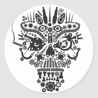 HellRider Skull Mechanical Demon Classic Round Sticker