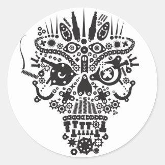 HellRider Skull Mechanical Demon Round Stickers