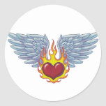 Hells Flames and Angel Wings Classic Round Sticker